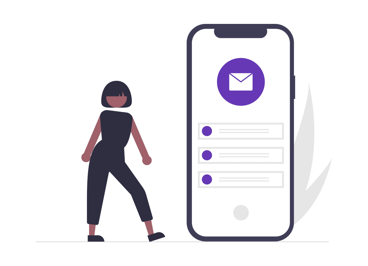 a cartoon woman stands next to an oversized phone with an email icon at the top