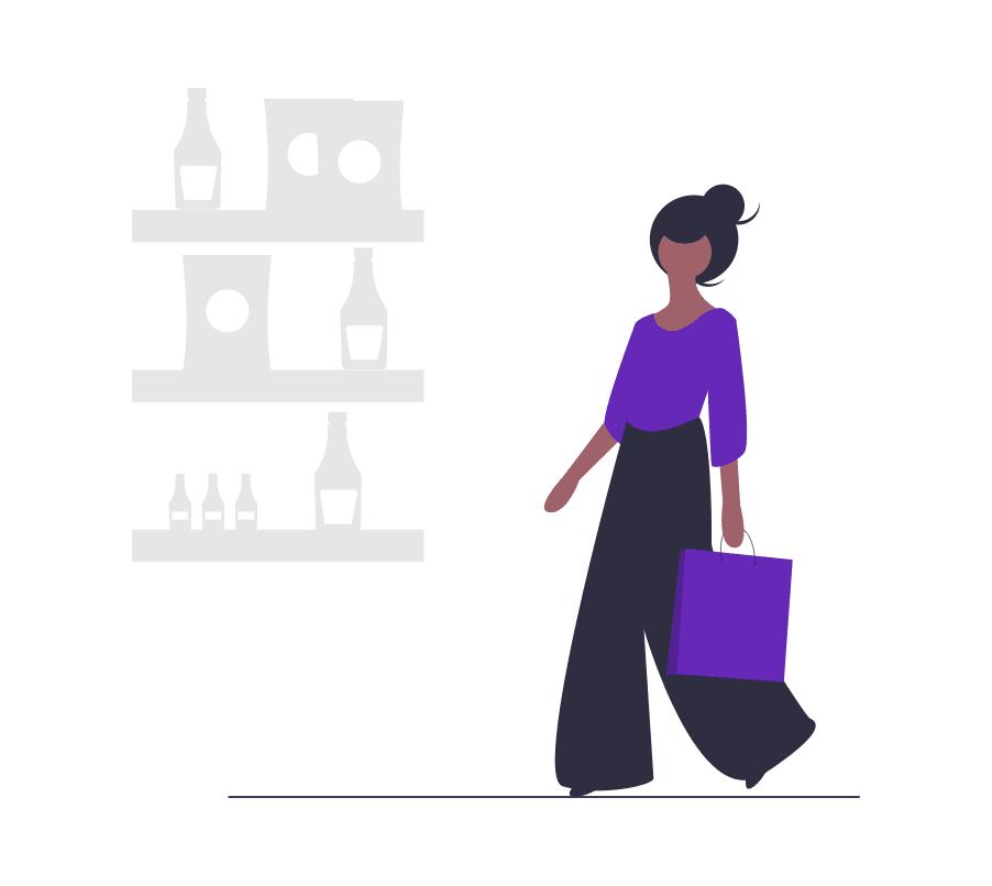A cartoon woman shopping