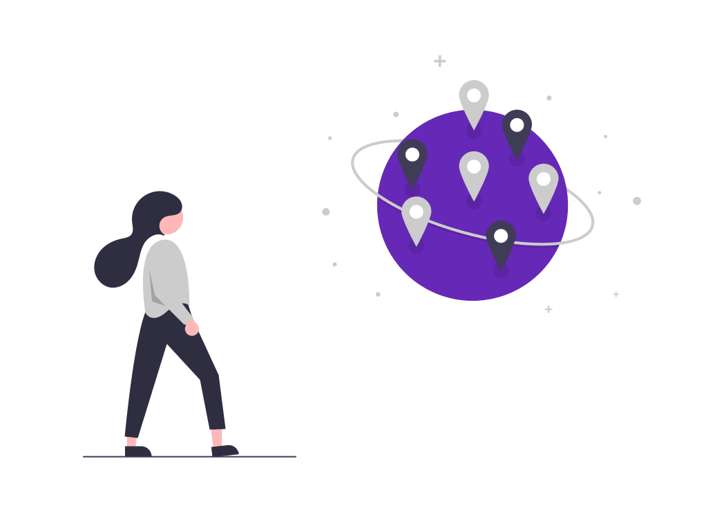 A cartoon woman looking at a world surrounded by internet location icons