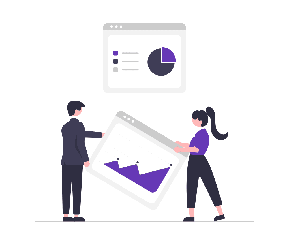 a cartoon depiction of a man and woman holding analytics graphs