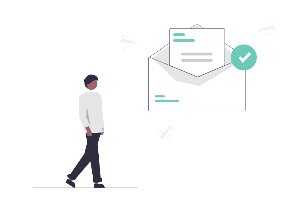 a cartoon man stands next to an oversized envelope and email icon