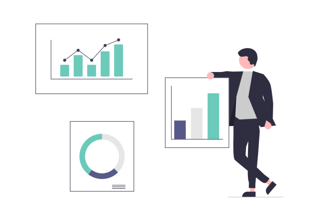 A cartoon man stands next to charts showing data or trends