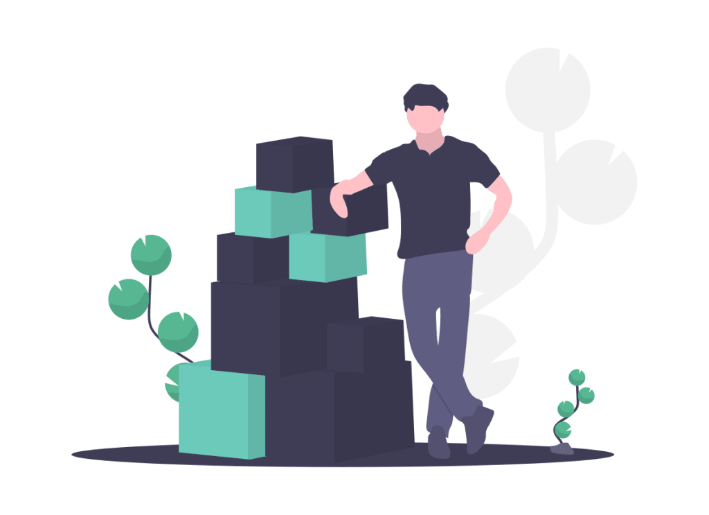 Man leaning on a stack of boxes ready for dropshipping