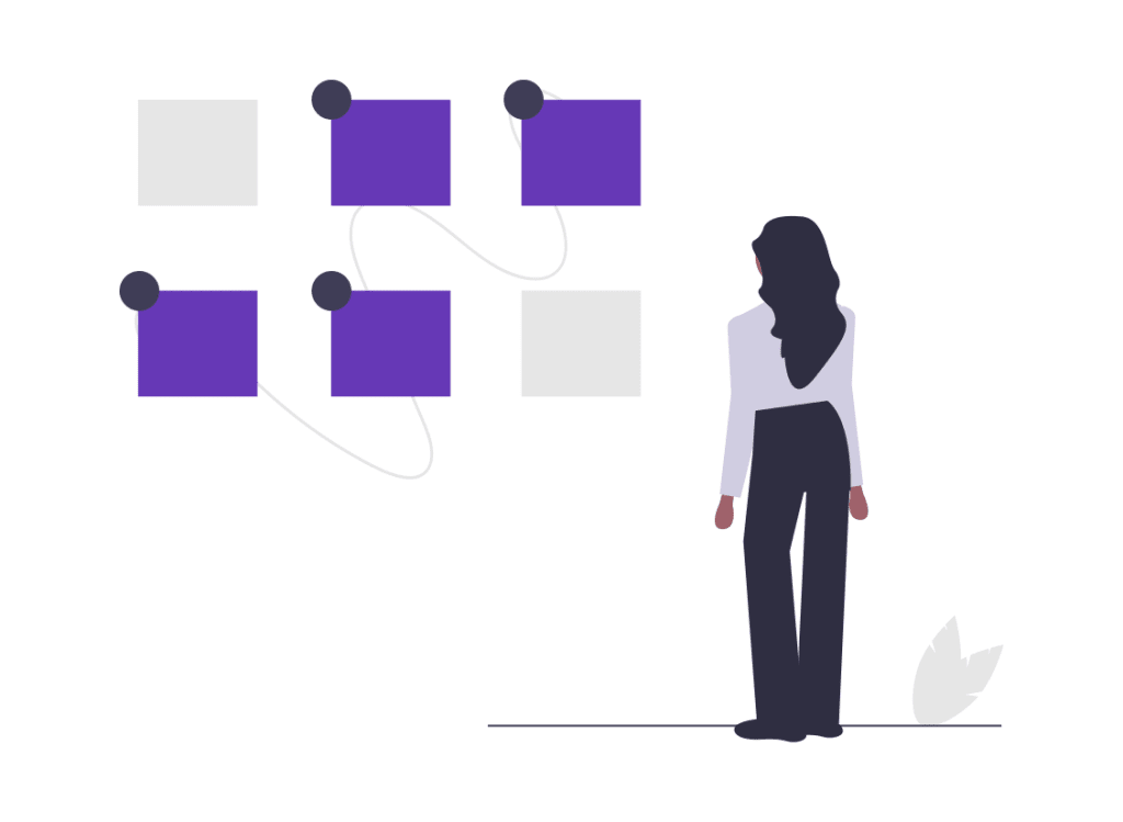 A cartoon woman stands looking at purple boxes and connecting them with lines