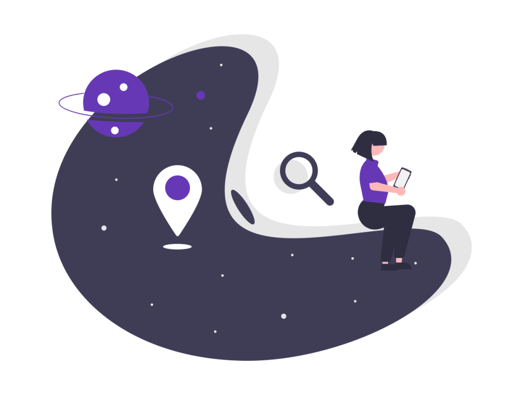 a female cartoon on top of a moon shape with a magnifying glass and localization arrows