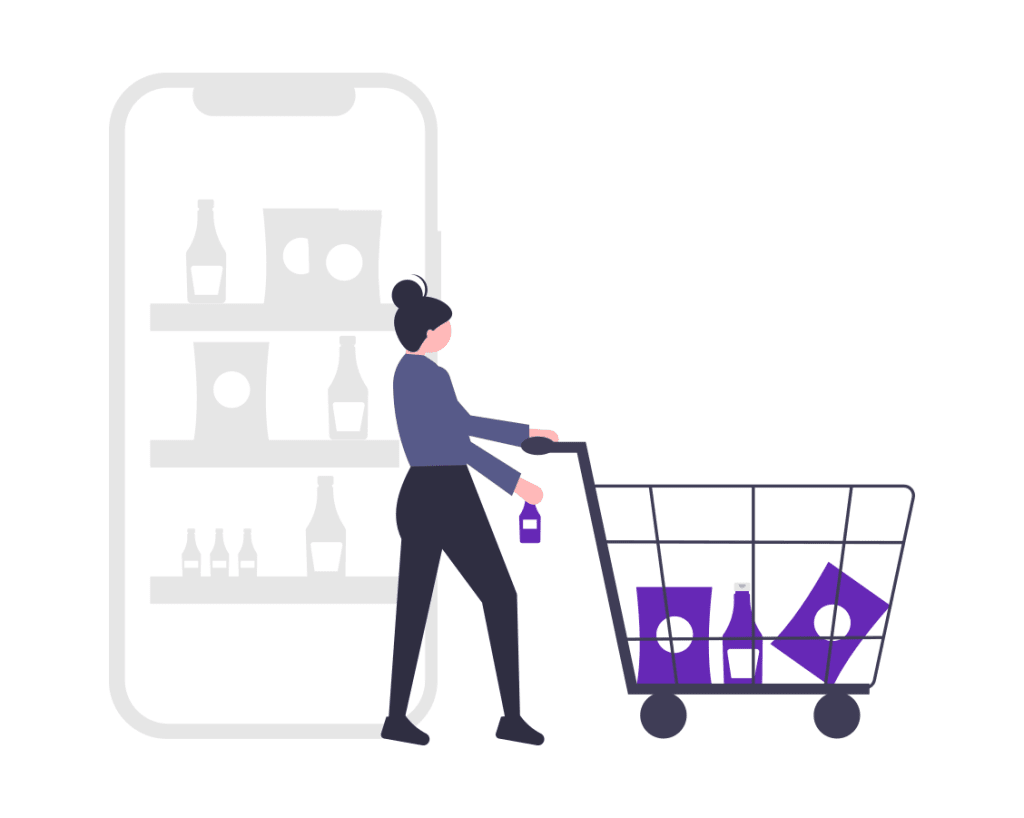 A cartoon woman adding items to her cart from a mobile responsive ecommerce site
