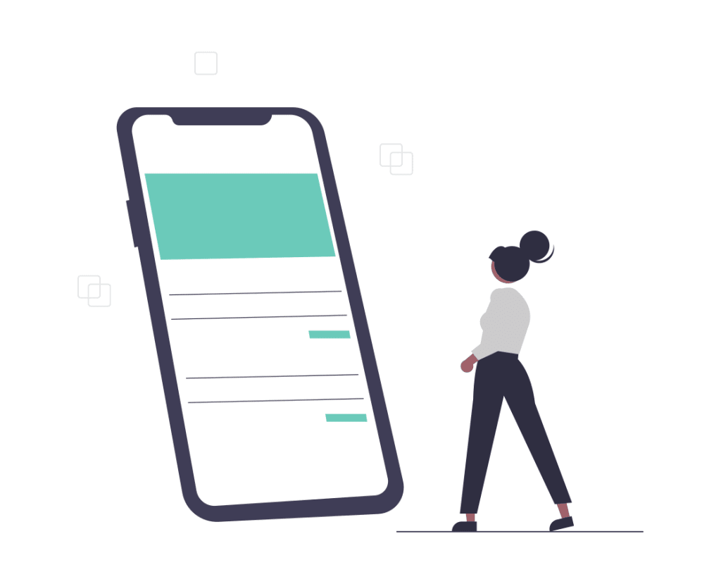 A cartoon woman looking at a large mobile phone app