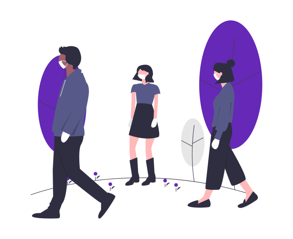 Three cartoon people outside wearing masks and gloves.png