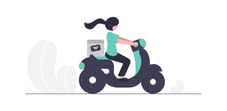 A cartoon woman delivering a package on a scooter