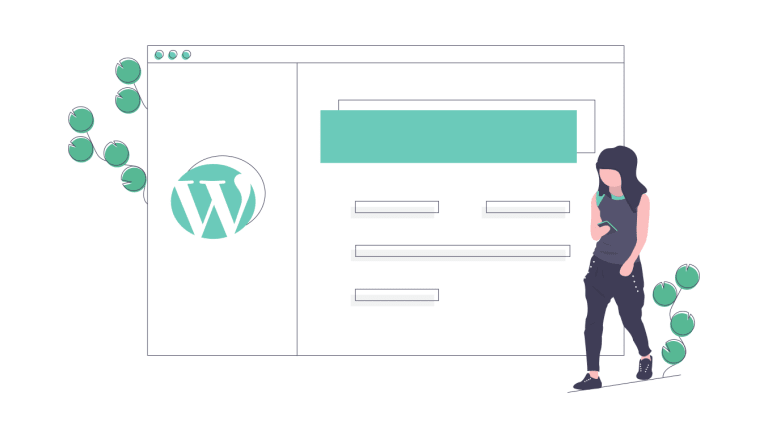 one cartoon person is walking in front of a WordPress webpage looking at a mobile phone