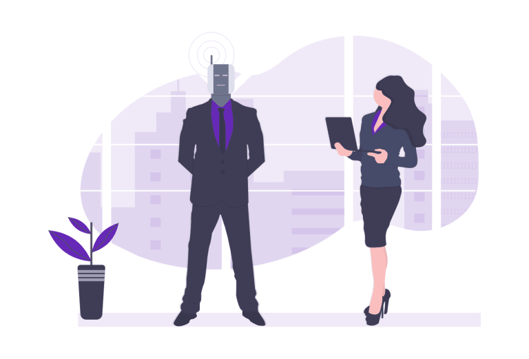 Cartoon woman on a laptop next to a man shaped robot.png