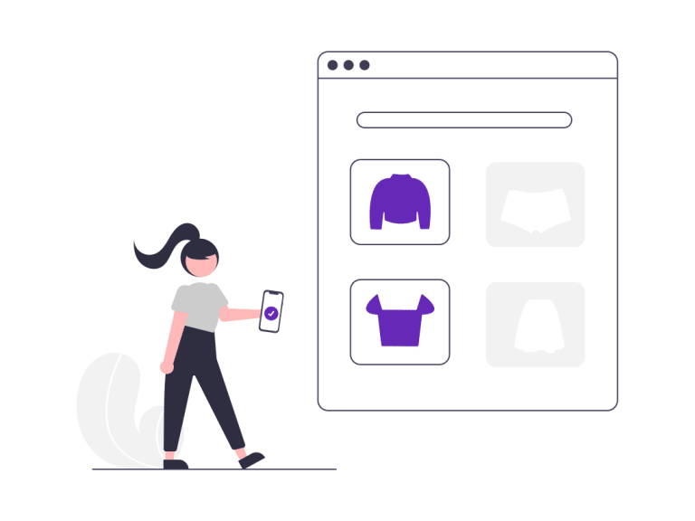 A cartoon woman buying clothing from an online store