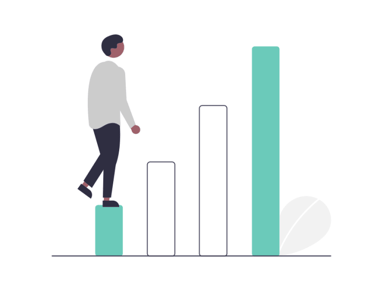 A cartoon man stepping up a growth chart representing scaling his business on Shopify