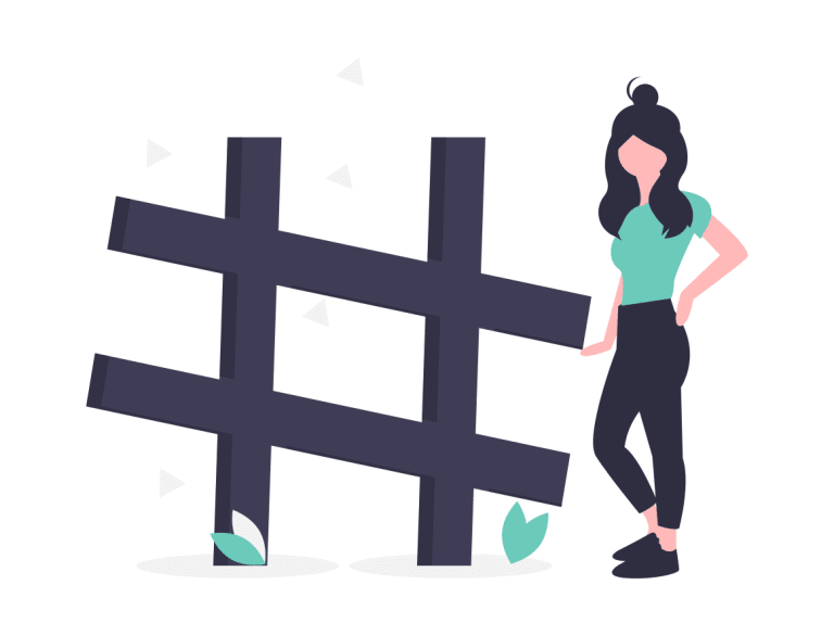 A cartoon woman stands next to an oversized pound sign, or hashtag