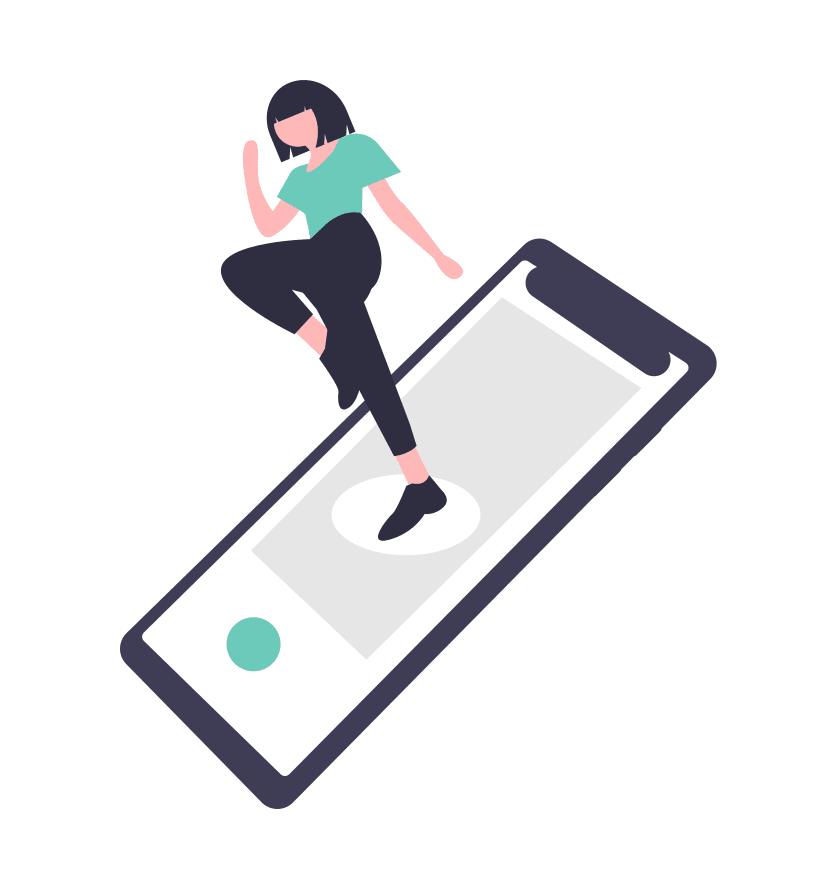 Cartoon woman jumping into real life out of a cell phone