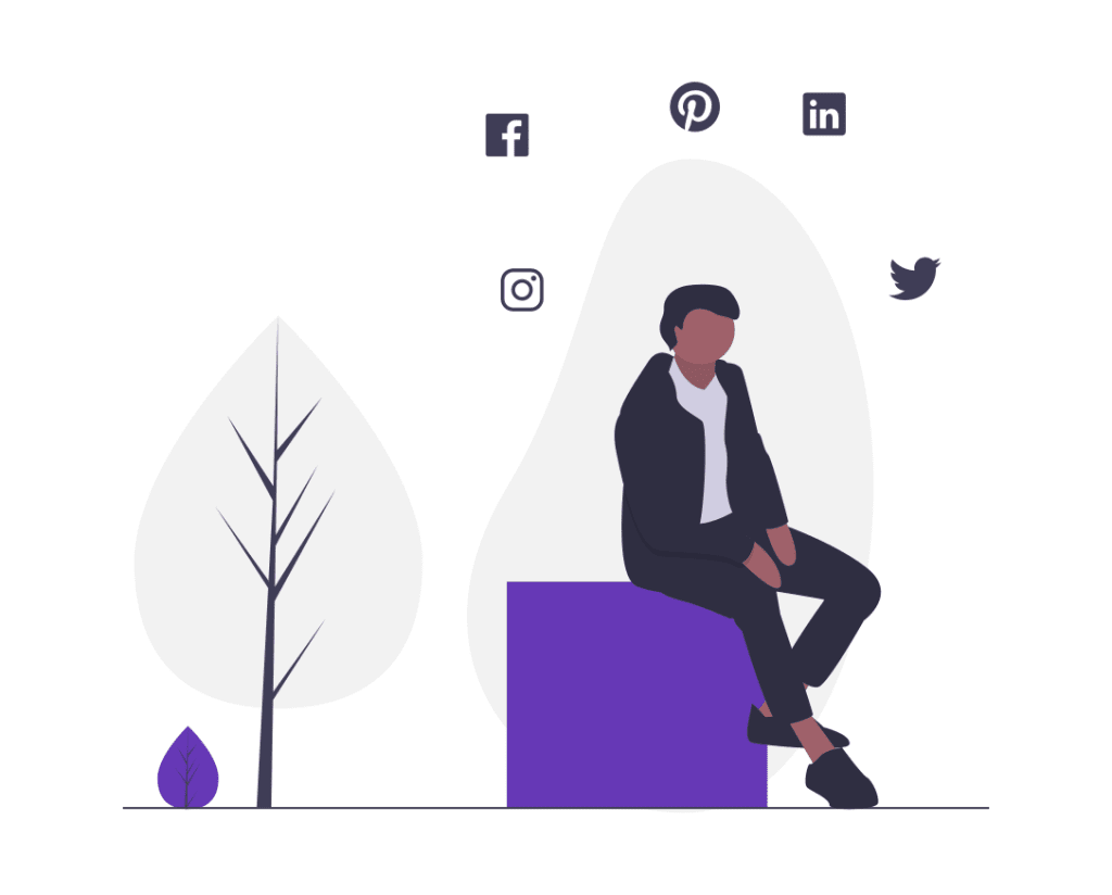 A cartoon of a man on a purple box with social icons around his head