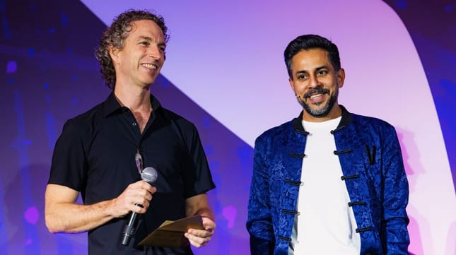 Jeffrey with Vishen Lakhiani. Jeffrey has been a frequent speaker on Mindvalley stages across the world.