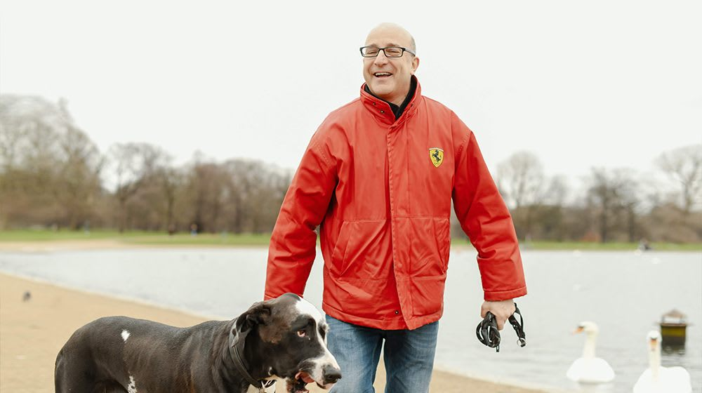 Paul with his beloved dog on a walk