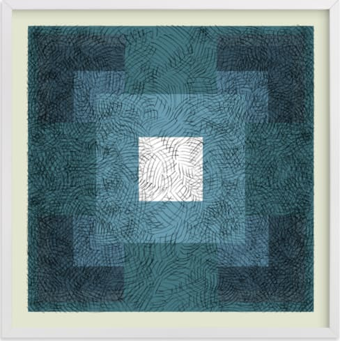 This is a blue art by Kathleen Ney called Scribble Squares  with standard.