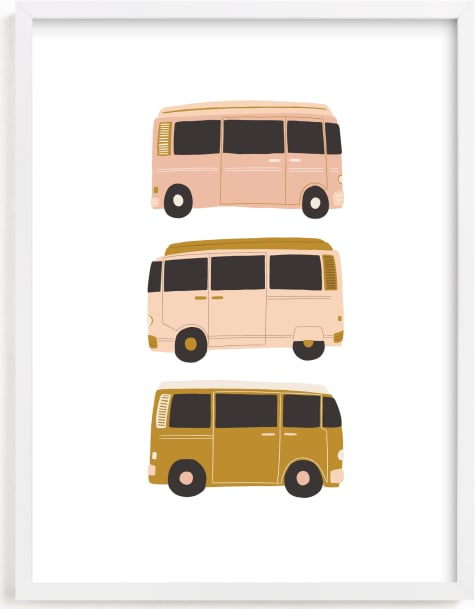 This is a brown kids wall art by Vine and Thistle called Vintage Van Crew.