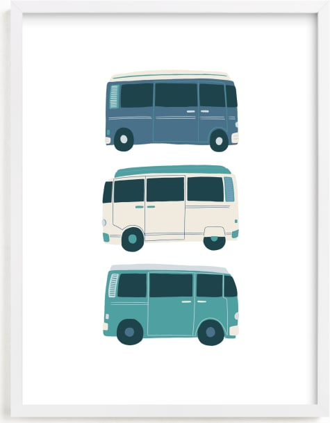 This is a blue kids wall art by Vine and Thistle called Vintage Van Crew.