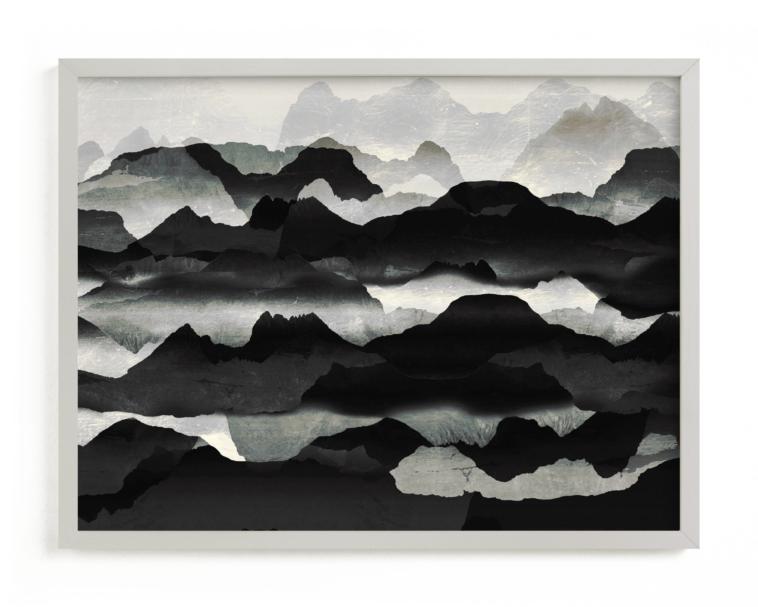 This is a grey art by Oana Prints called Metallic mountain silhouette.