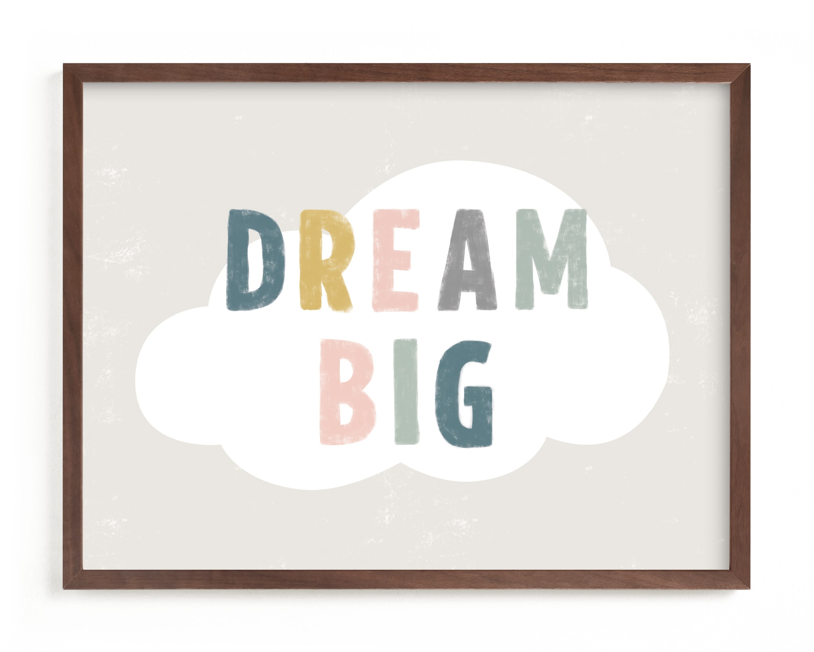 This is a colorful nursery wall art by Pixel and Hank called Dream BIG with standard.