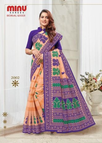 Minu Blue With Salmon Cotton Printed Best Selling Sarees