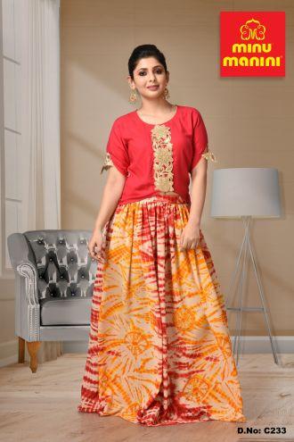 Minu Multi Printed Georgette With Rayon Fabric Gown