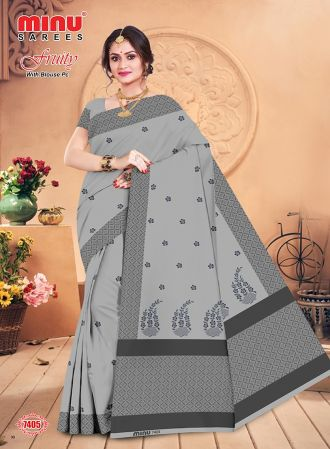 Minu Grey Cotton Embroidered Puja Special Designer With Blou Sarees
