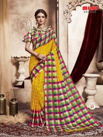 Minu Yellow Handloom New Designer Check Printed Puja Special Sarees