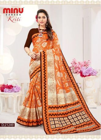 Minu Golden Cotton Digital Printed Sarees