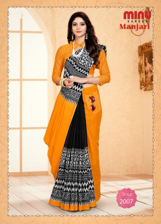 Minu Yellow Cotton Designer #Pocketsaree Sarees