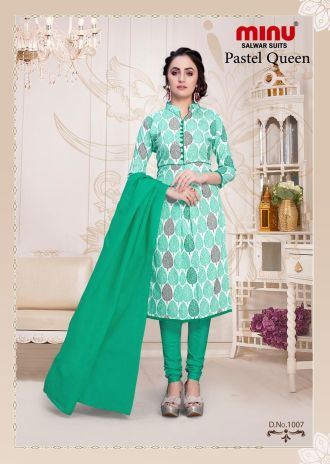 Minu Green Cotton Floral Print Salwarsuit