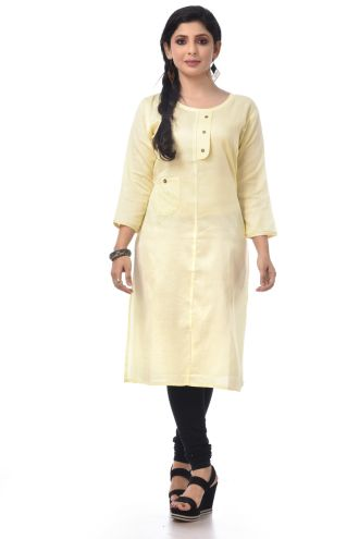 Minu Off White Satin Kurti