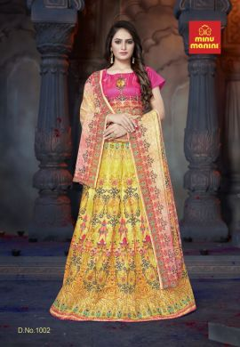 Minu Pink And Yellow Bangalori Satin Blouse And Kali-Patterned Lehenga Gown