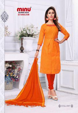 Minu Golden Orange Cotton Handloom New 3D Pattern Look Salwarsuit