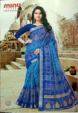 Minu Blue Cotton Printed Exclusive Abhinandan Saree Sarees
