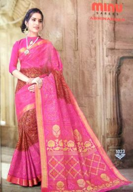 Minu Pink Cotton Printed Exclusive Abhinandan Saree Sarees
