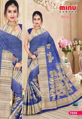 Minu Blue Cotton Designer Printed Sarees