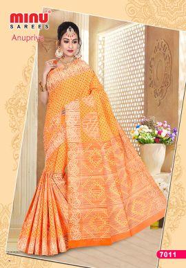 Minu Orange Cotton Designer Printed Sarees
