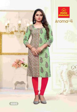 Minu Green Premium Cotton Princess Cut Long Kurtis Kurti