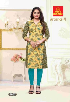 Minu Yellow Premium Cotton Princess Cut Long Kurtis Kurti