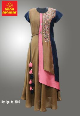 Minu Khaki Yellow Chanderi & Dola Silk With Heavy Embroidery Gown