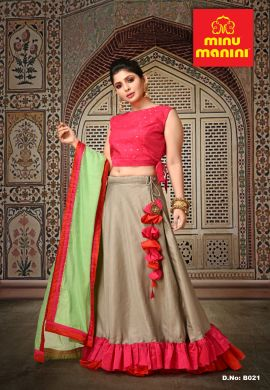 Minu Pink Satin  With Linen Slab Duptta In Chanderi Gown