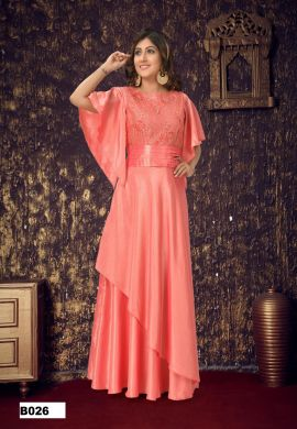 Minu Salmon Pink Crackle & Fancy Embroidered Gown