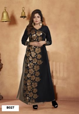 Minu Black Muslin Golden Embroidered Gown With Crackle Bottom Gown