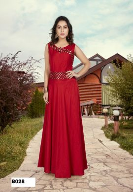 Minu Red Bangalari Slub Gown