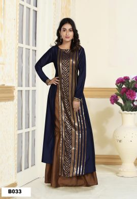 Minu Blue Muslin Golden Embroidered Gown With Crackle Bottom Gown