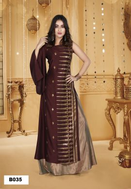 Minu Brown Muslin Golden Embroidered Gown With Crackle Bottom Gown